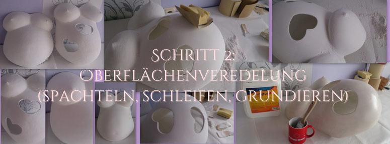 Überarbeitung vom Babybauch-Gipsabdruck - Gipsabdruck Babybauch - Bemalung - Gestaltung - Dekorations - Babybauchabdruck - Gipsabdruck von Schwangerschaftsbauch - Veredelung - Oberflächenglättung -