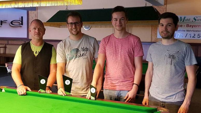 2. Platz: Bernd Hill, 1. Platz: Sebastian Führitz, 3. Platz: Johannes Oswald, 4. Platz: Philipp Fahrenschon