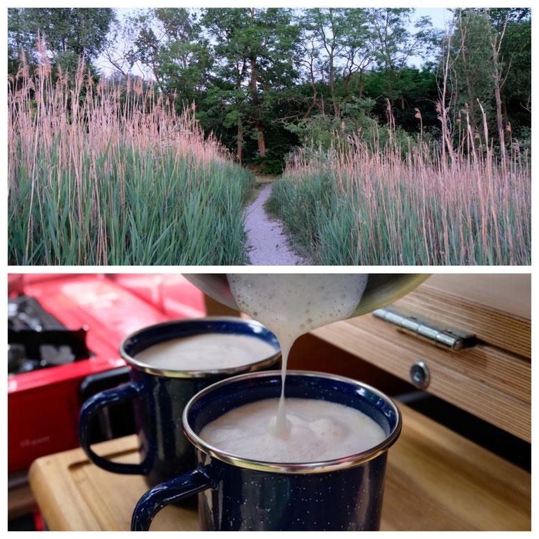 Unser Platz am großen Seddiner See (Link gesetzt) & Kaffee am Morgen