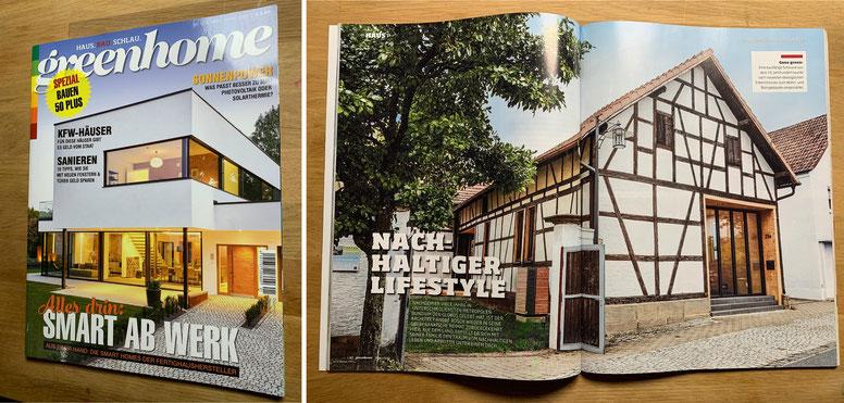 """Veröffentlichung, """"greenhome"""" Magazin Deutschland, Thema """"Nachhaltiges Bauen"""""""