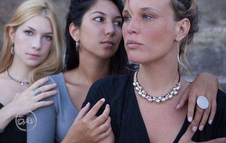 Collier de perles en argent massif fait main