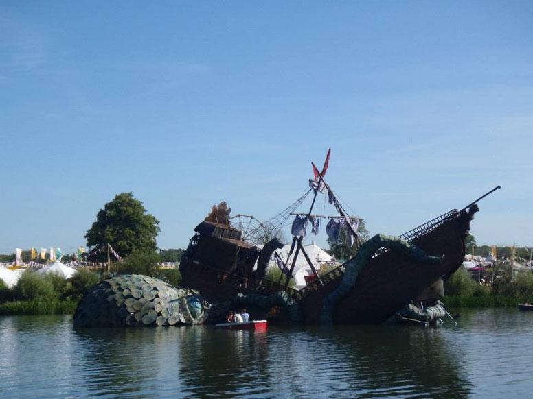 Lake sculpture. kraken, Secret Garden Party, music festival, England, UK