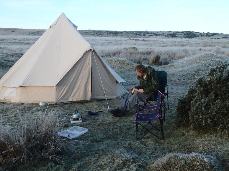 bell tent camping, frost over Dartmoor, Devon, England