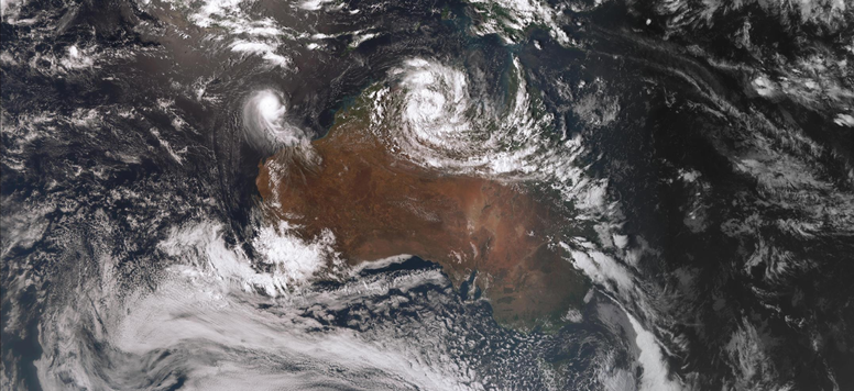 Satellite image of tropical cyclone Ferdinand of the north WA coast and ex-TC Esther, 26/02/2020. Image from www.bom.gov.au