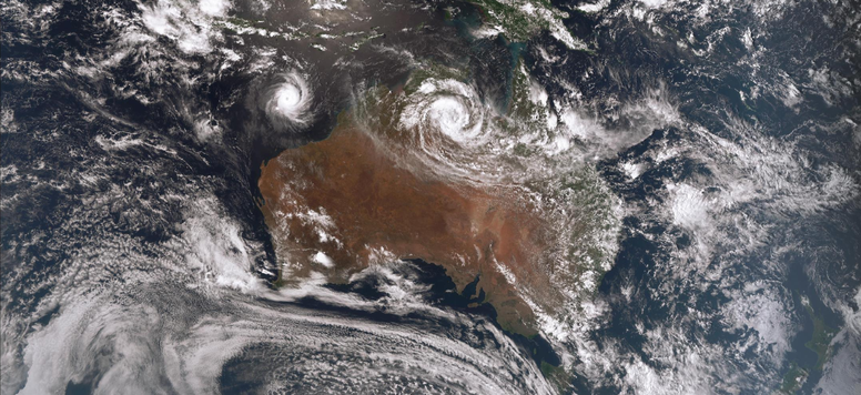 Satellite image of tropical cyclone Ferdinand of the north WA coast and ex-TC Esther, 25/02/2020. Image from www.bom.gov.au