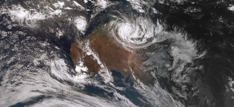 Satellite image of tropical cyclone Ferdinand and TC Esther, 24/02/2020. Image from www.bom.gov.au