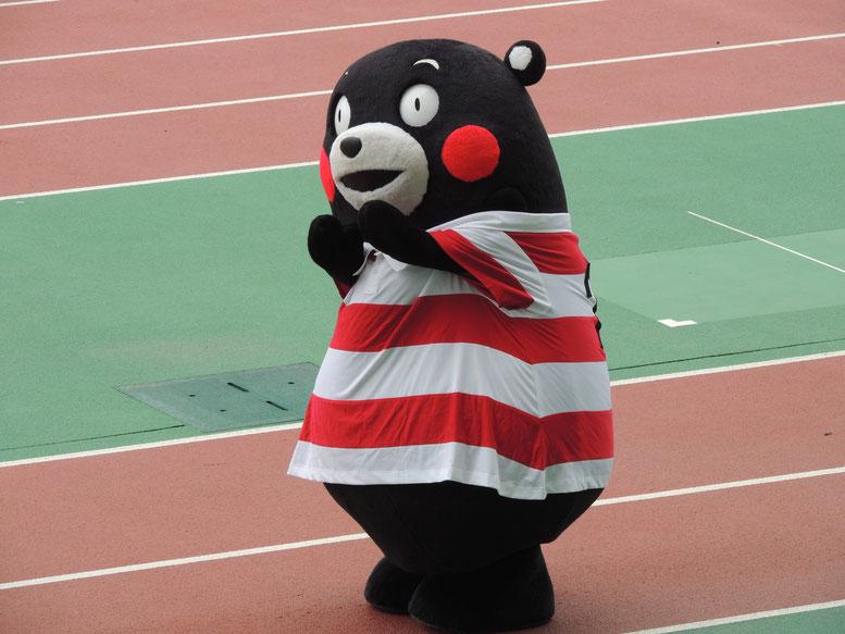 くまモンが日本代表のユニフォームで五郎丸ポーズ!かわいい!