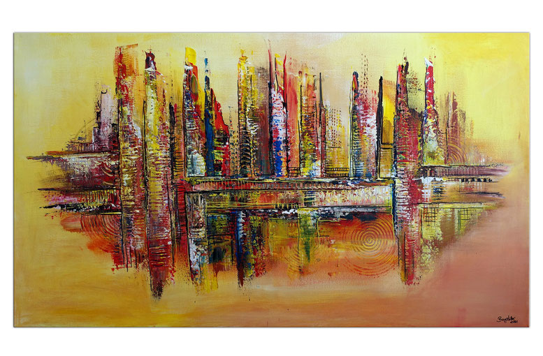 Wüstenstadt abstrakte Skyline Malerei gelb rot modernes Kunstbild Wandbild
