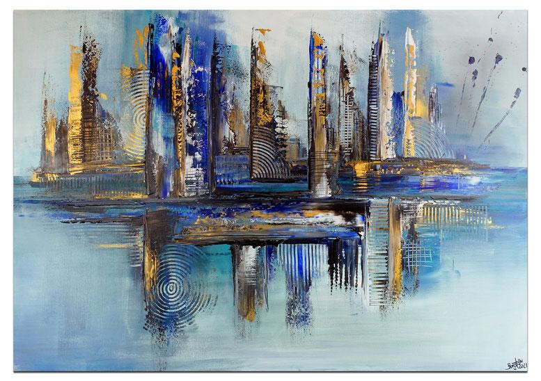 Hafenstadt abstrakte Malerei blau gold Wandbild Acrylbild Künstler handgemalt
