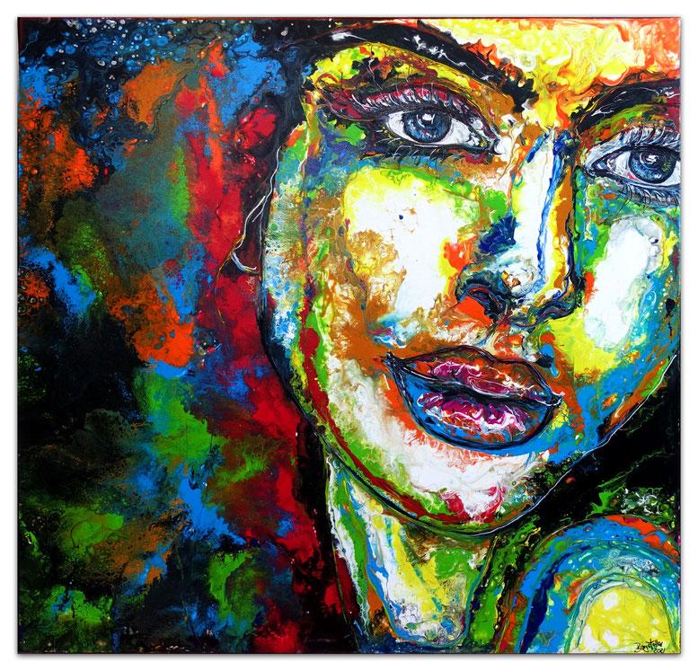 Frau mit Brille Malerei Kunst Bild modern 100x100