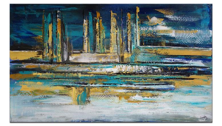 Staccato abstraktes Wandbild BÜrobilder gelb blau ocker Acrylgemälde 130x90