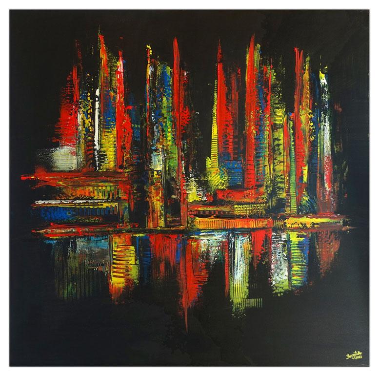 City Night abstrakte Malerei schwarz gelb rot leuchtende Farben Moderne Kunst