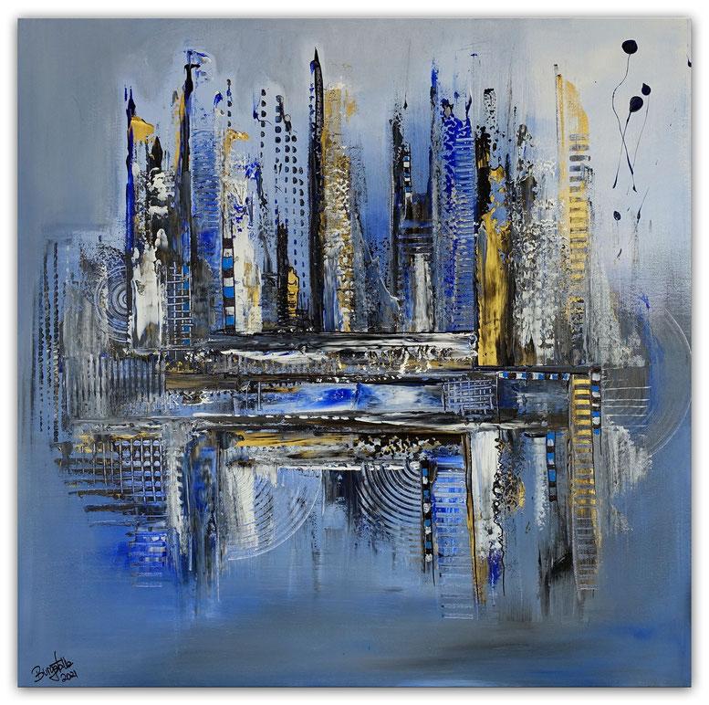 Diamont City abstrakte Wandkunst Malerei blau gold Gemälde Acrylbild handgemalt