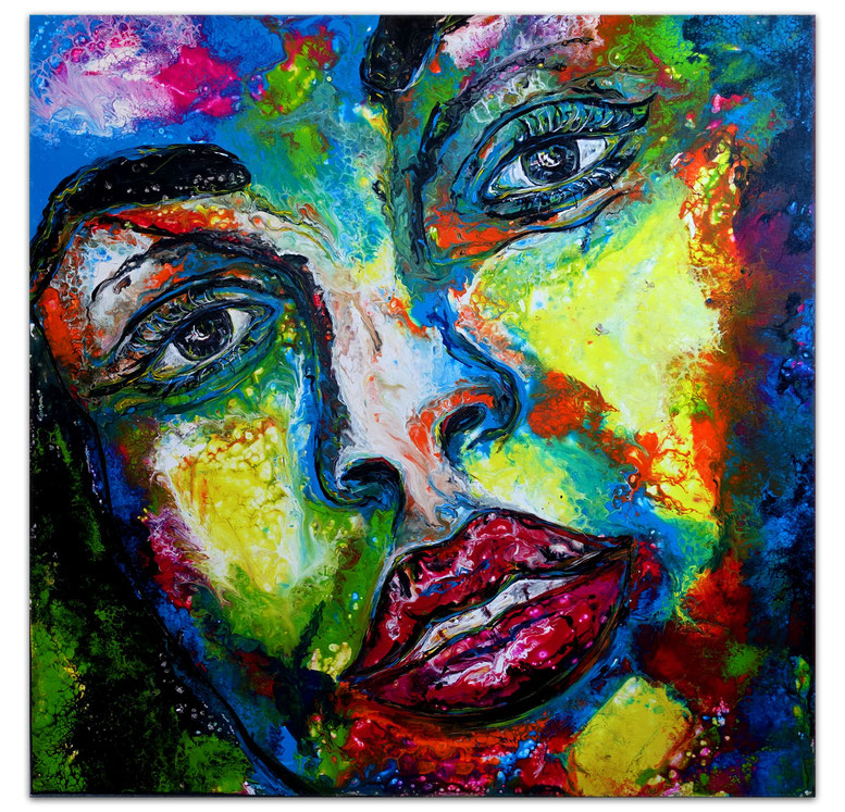 Frau mit Hut gelb schwarz - Gesichter Porträt Gemälde 70x100