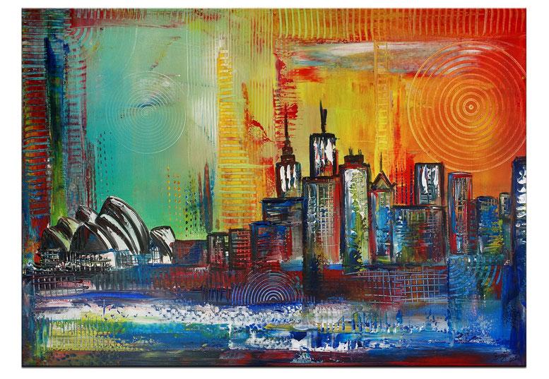 Skyline Sydney mit Oper abstrakt gemalt - Stadtbild Gemälde Malerei 60x100
