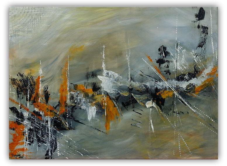 Schiffsbruch 60x80 abstraktes Original Gemälde Kunst Bild grau beige