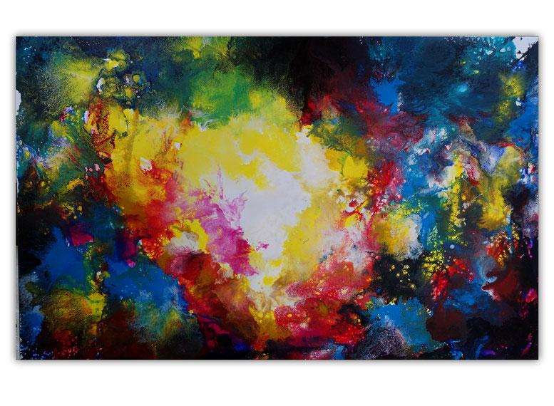 Panorama Petrol 80x140 abstraktes Leinwandbild malerei gemälde kunst abstrakt