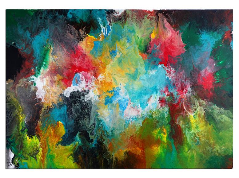 Regenbogen 70x140  blau gelb rot lila abstrakte malerei acrylbild wandbild kunst