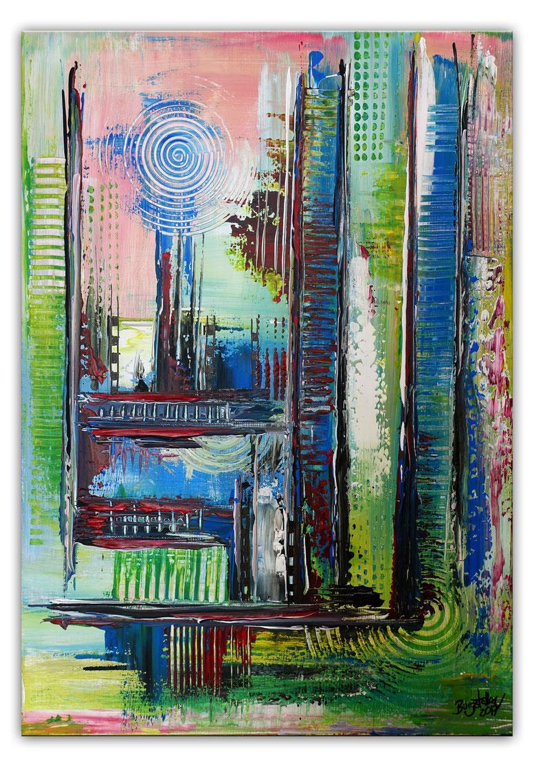 Confused bunt pastell abstrakt acrylbilder kunst bilder grün rot blau 60x90