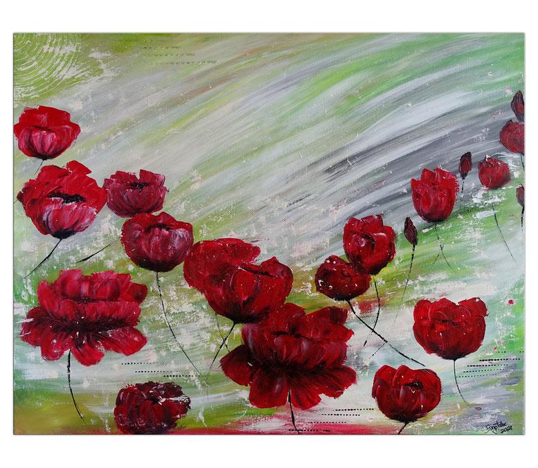 5 rote Blüten - Wandbild Blumen Malerei Acrylbild - handgemaltes Blumenbild