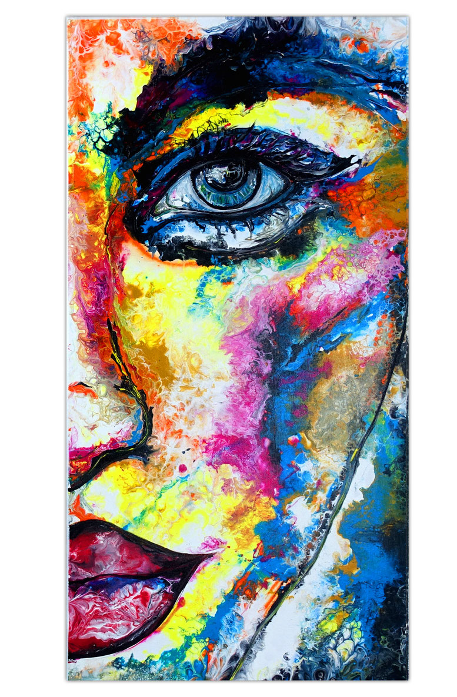 Wandbild Frau Gesicht roter Hut Malerei Menschen moderne Kunst Gemälde