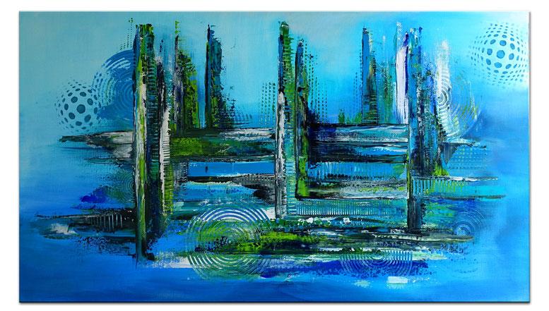Meeresgrund abstraktes Leinwandbild blau grün Original Gemälde Wohnzimmerbild