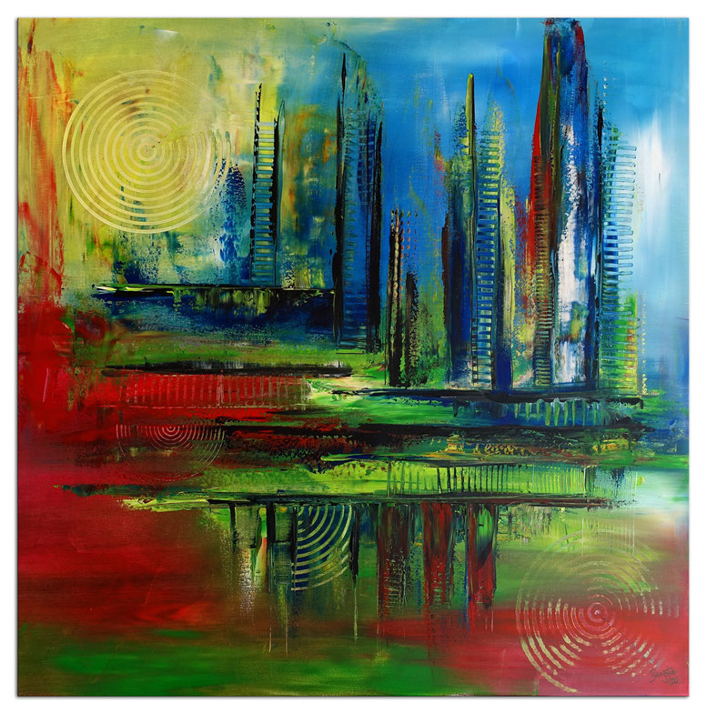 Grün gelb abstrakte Malerei Original Unikat Gemälde 40x50cm