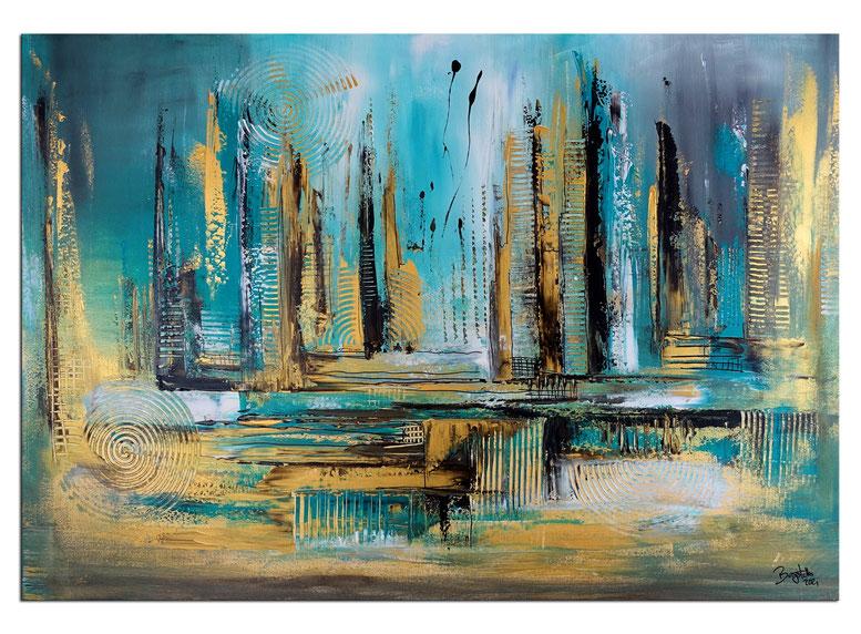 Skyline 50x100 grau schwarz abstrakte Kunst Malerei Original Gemälde kaufen