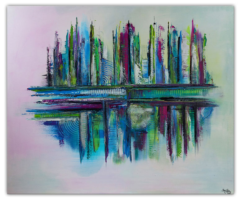Im Sog 100x100 abstraktes Acrylbild kaufen blau grau abstrakte malerei gemälde