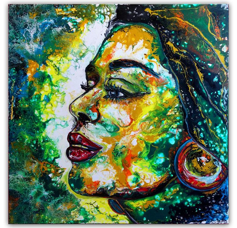 Wandbild Amazone Moderne Malerei Gesicht abstrakt