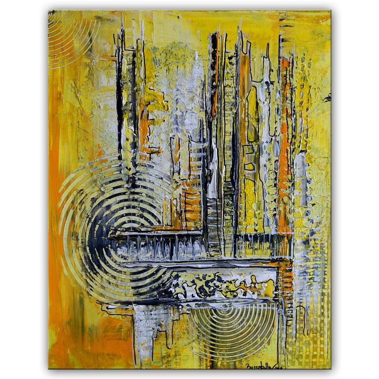 Abstraktes Wandbild gelb grau Acryl Gemälde 40x50