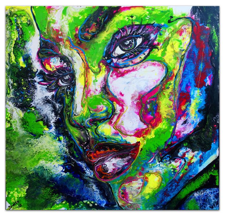Frau mit Hut gelb Gesicht handgemalt Gemälde Acrylbild 70x100