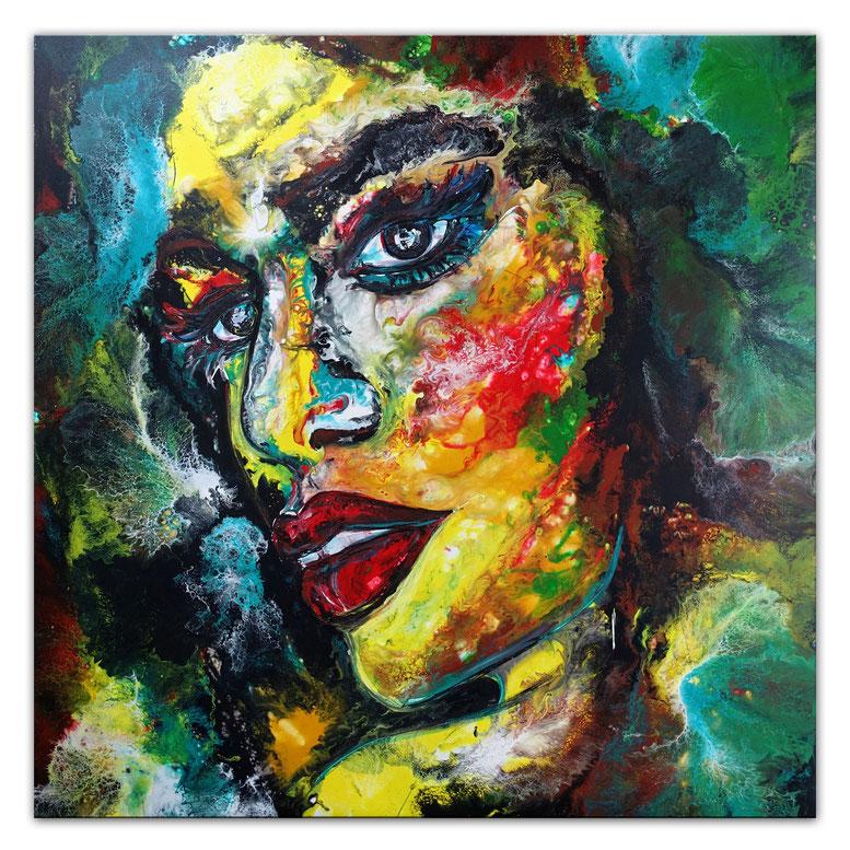 Hello Abstrakte Malerei GEsicht Portrait Fluid Art Wandbild Acryl Gemälde