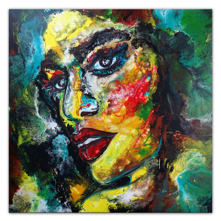Witch Gesichter Porträt Malerei Kunst Bilder Menschen Unikat Acryl Gemälde