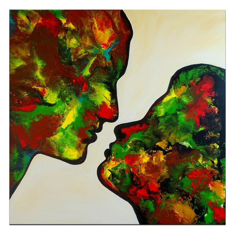 Kuss 21-1  Fluid Art Pouring Moderne Malerei Liebespaar grün Wandbild