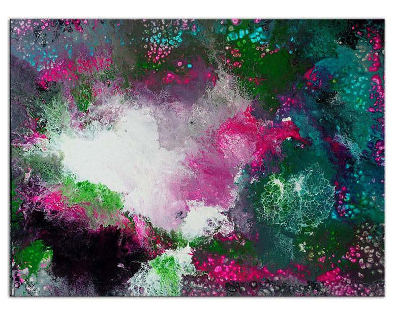 Flares abstrakte Malerei grün rosa Leinwandbild Unikat Original Gemälde Acrylbild