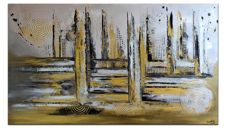 Abstrakte Skyline gemalt 2 Silber Gold 80x140 Modernes Wandbild Praxisbild Gemälde