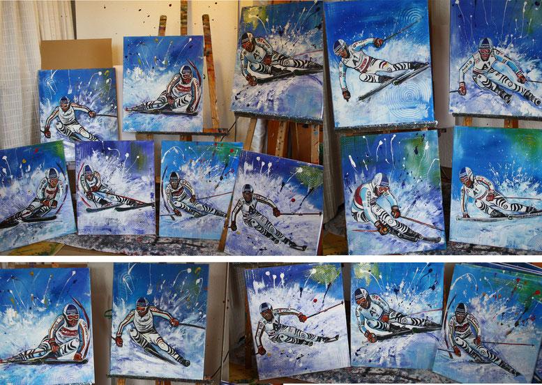 Fritz Dopfer Gemälde Malerei Skifahrer Skiläufer Ziener handgemalt ISPO München