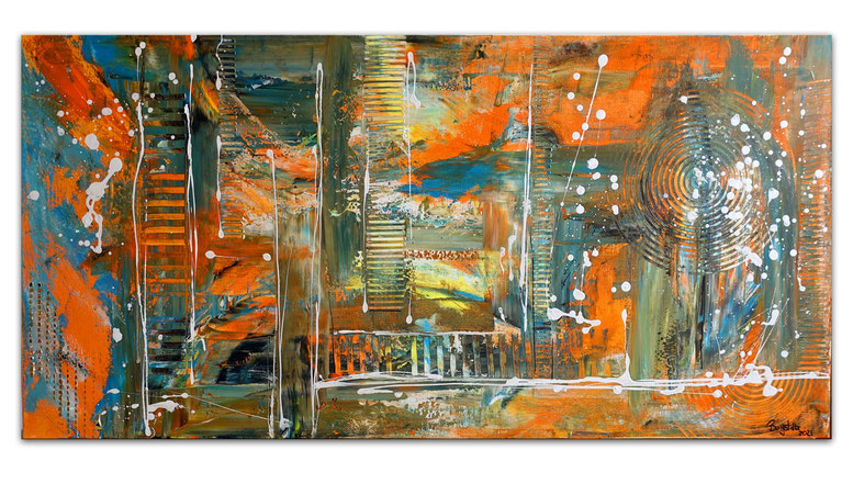 Wallstreet abstrakte Malerei Original Acrylgemälde Acrylbild Unikat orange cyan