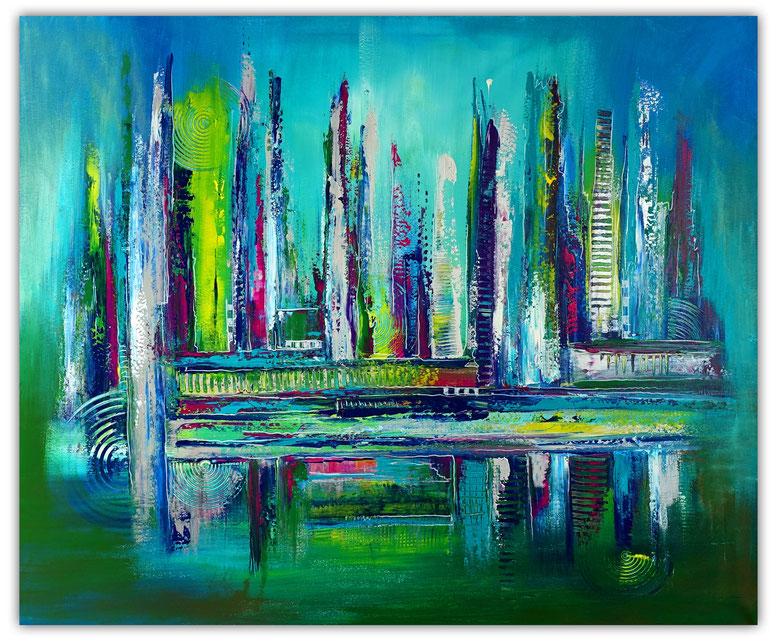 Abstrakte Malerei 120x120 Original Gemälde Acrylbild Strukturbild grau rot abstract painting