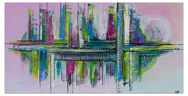 Waldrand abstraktes Acrylbild grün grau Original Gemälde abstrakte Malerei 80x100