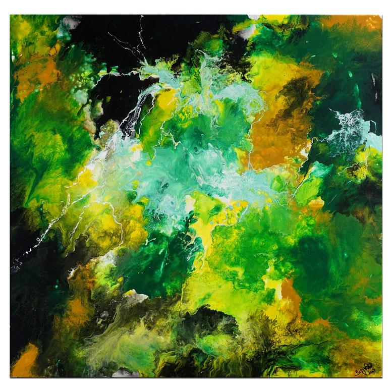 Wald 80x100 Malerei Gemälde Modern grün gelb abstraktes Acrylbild handgemalt
