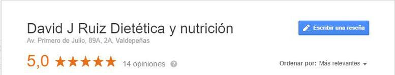 Opiniones y reseñas David J. Ruiz Dietista - Nutricionista Valdepeñas