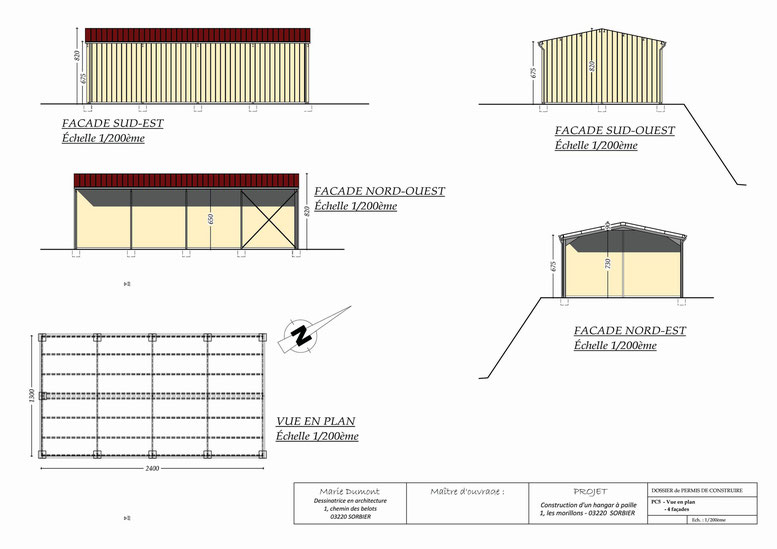 Permis de construire lucarne avec vue for Plan de hangar