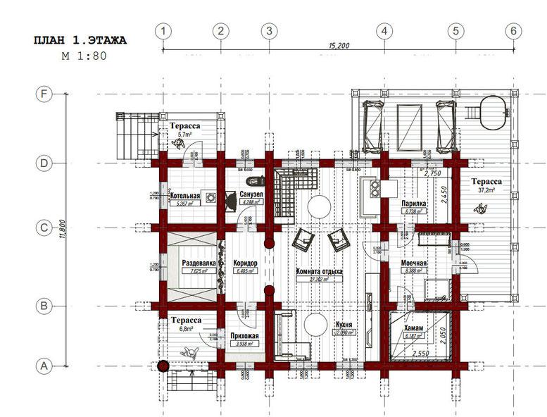 план рубленной бани