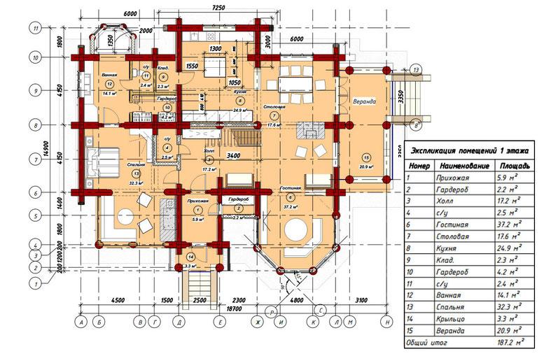 план 1 этажа рубленного дома