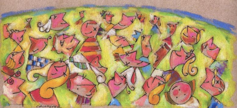 Carte de vœux pour l'Aérospatial en 1999 - Format de l'original: 12/30 cm, pastel, rotring, crayons de couleur