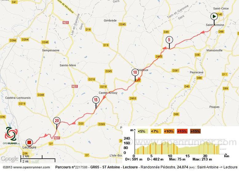 Saint Antoine, Lectoure, Carte, IGN, GR65