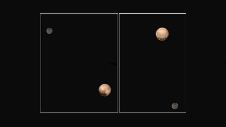 Les 2 faces de Pluton clairement différentes l'une de l'autre (en gris Charon)
