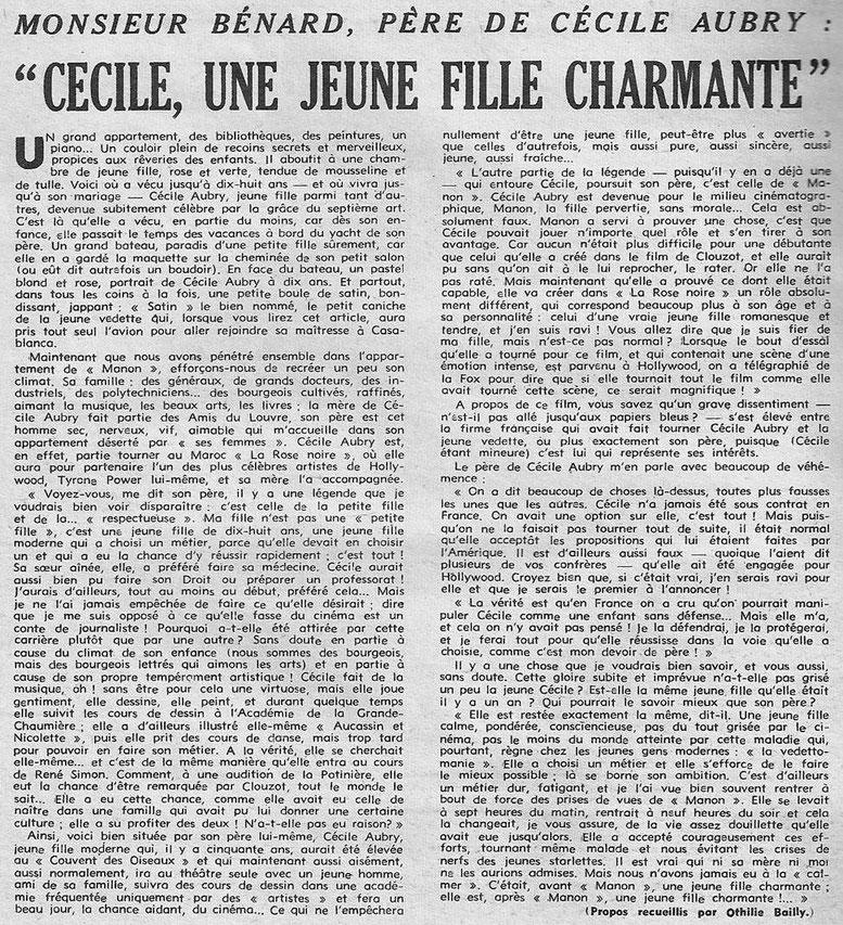 Cécile Aubry décrite par son père Lucien Bénard